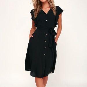 Lulu's Flutter Sleeve Black Ruffled Button Dress